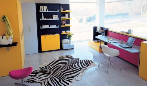 jugendzimmer einrichtungsideen mit farben zebra muster