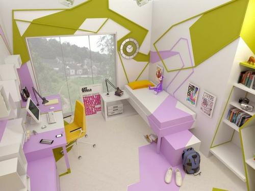 jugendzimmer einrichtungsideen modern stilvoll lila grün bett lernecke