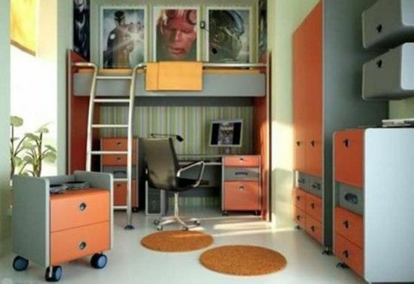 jugendzimmer gestalten dekoideen schrank bedienungstisch stockbett