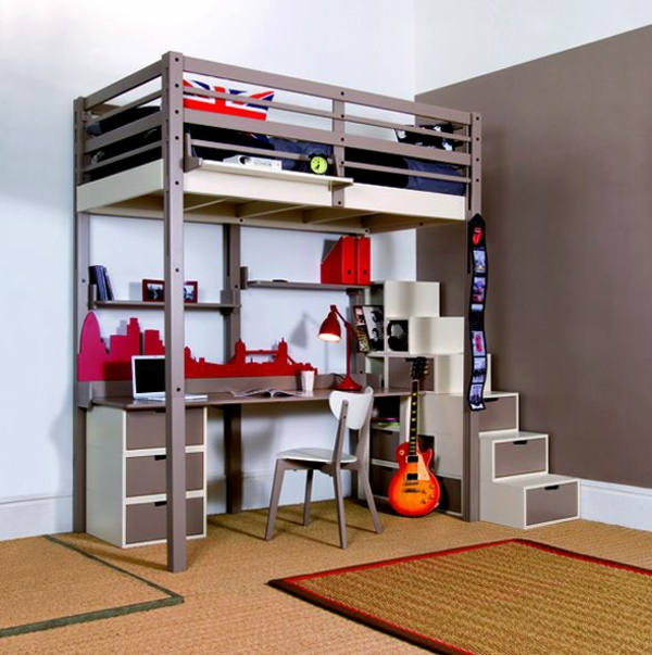 jugendzimmer gestalten für kleinen wohnraum stockbett lagerraum
