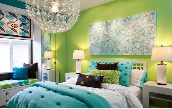 jugendzimmer gestalten grüne farbauswahl