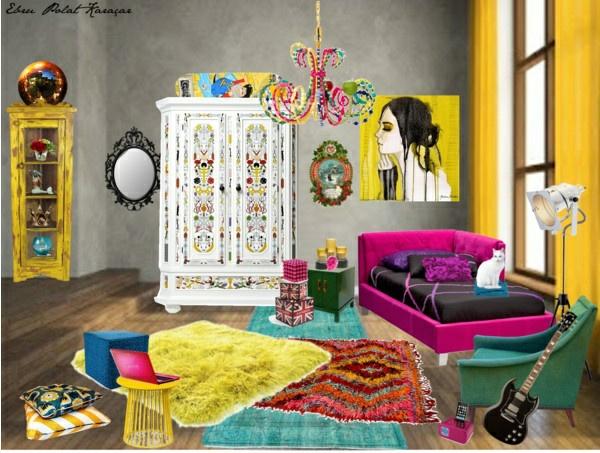 jugendzimmer gestalten moderne art teppiche bunt bett wanddeko kronleuchter
