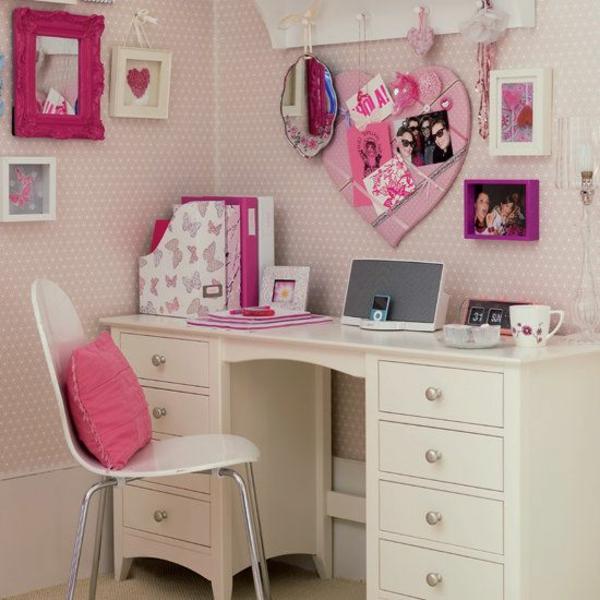 jugendzimmer gestalten süß und rosa spiegel schreibtisch