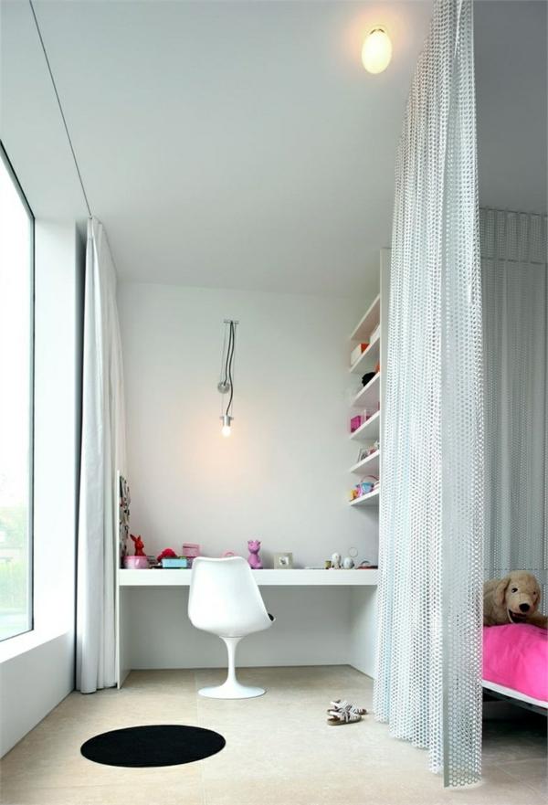 jugendzimmer gestalten weiße möbel gardine als trennwand