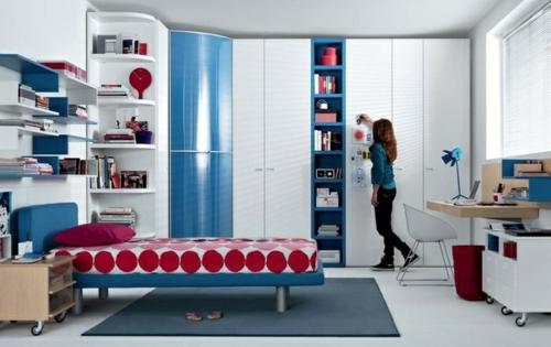 farbgestaltung fürs jugendzimmer mädchen regale bett modern