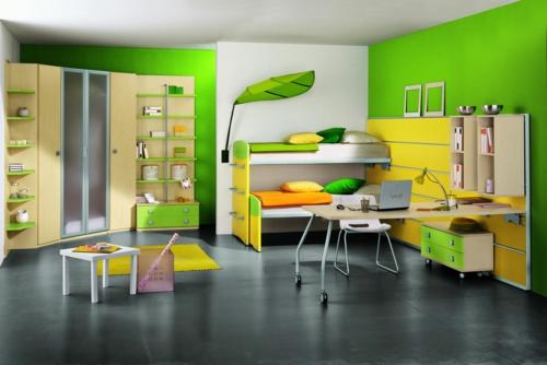 jungen zimmer grün wandfarben möbel industriell stil