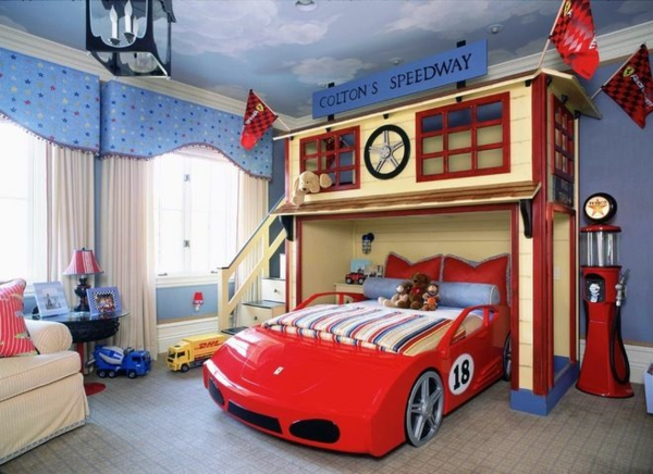 jungenzimmer einrichten auto bett dekoideen sofa