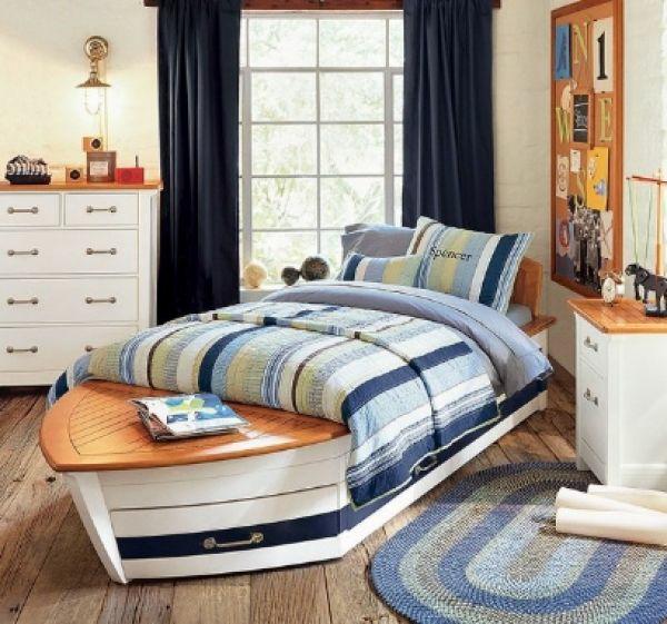 jungenzimmer gestalten bett wie boot in blau