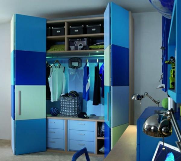 jungenzimmer gestalten blaue inspiration schrank