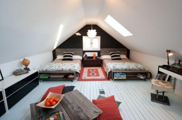 jungenzimmer gestalten schrägwände betten teppich