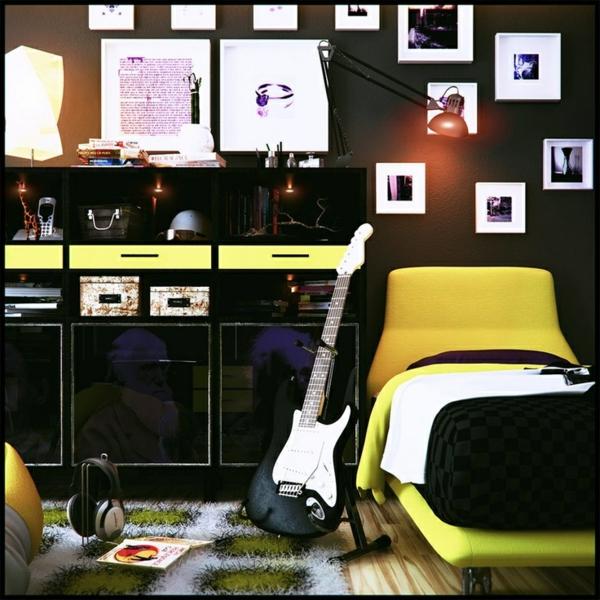 jungenzimmer gestalten schwarz und gelb lackierte möbel