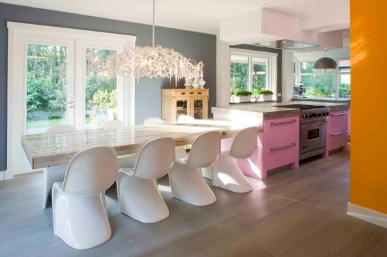 küche einrichten wandgestaltung wandfarbe esszimmermäbel modern