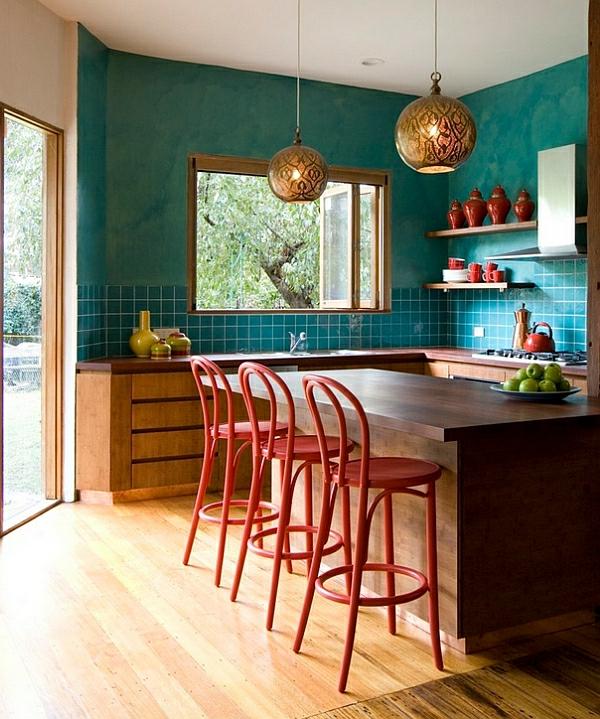 küche farbküchenarbeitsplatte hocker lehnen Kücheneinrichtung und Küchenmöbel