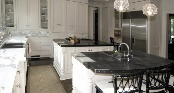 küchenarbeitsplatten granit schwarz materialien kücheninsel zink