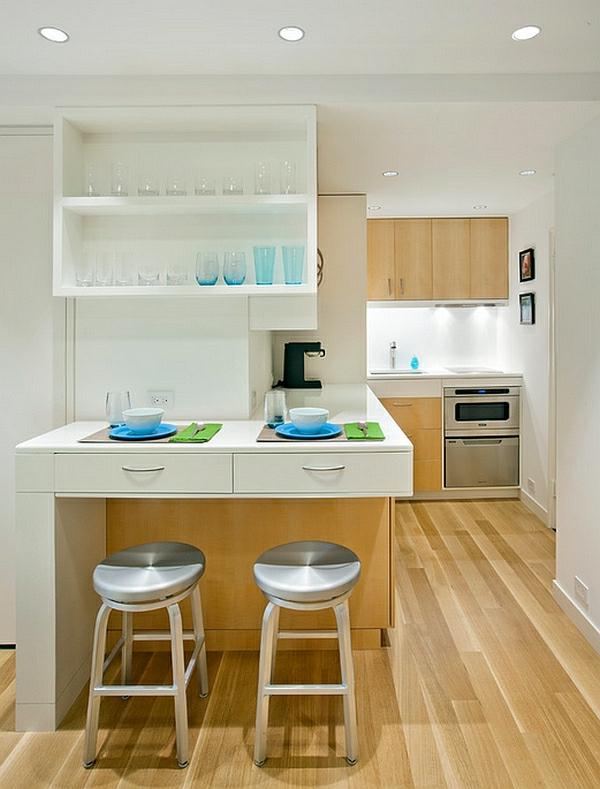 holz bodenbelag kücheneinrichtung planen apartment klein