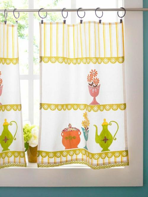 küchengardinen flächenvorhänge gemustert selber machen küchenfenster