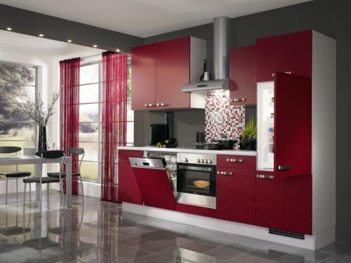 küchengardinen transparent kirschenrot küche gestaltung ideen
