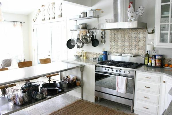 küchenschiene pfannen herd arbeitsplatten Industrieller Edelstahltisch