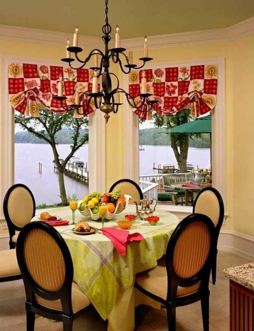 küchenvorhänge küche gestalten ideen esszimmer gardinen