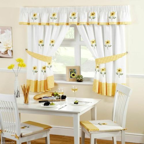 küchenvorhänge küche gestalten ideen küchengardinen wohnküche esszimmer esstisch