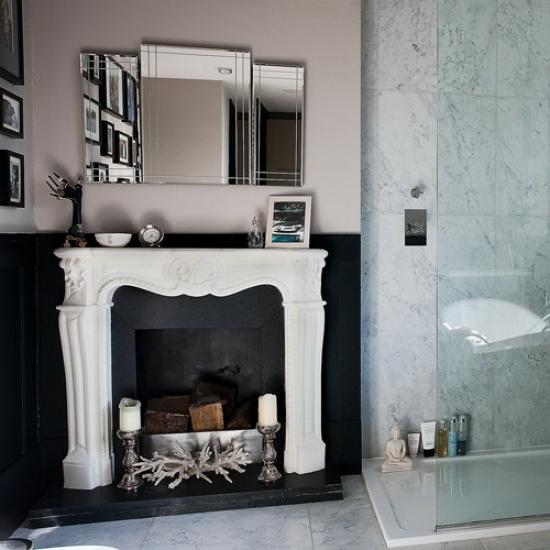 kamin badeinrichtung klassisch wandspiegel