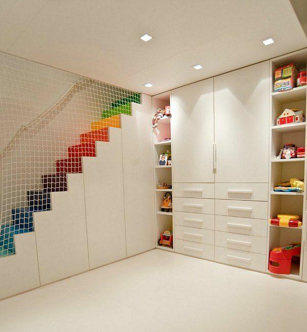 kinder schlafzimmer design ideen in weiß netz trennwand