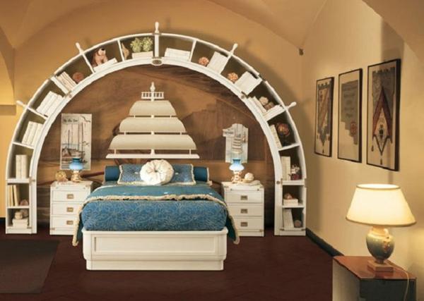 kinder schlafzimmer design ideen rundes regal bett