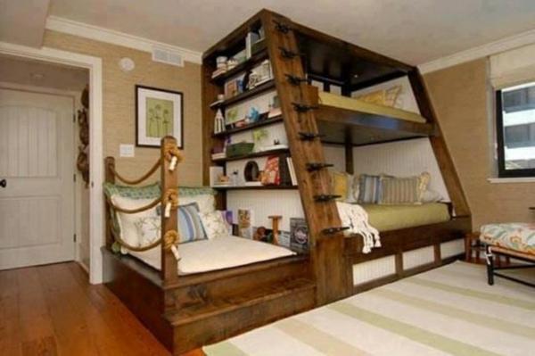 kinder schlafzimmer gestalten mit stockbett regal - Wandstreifen Ideen
