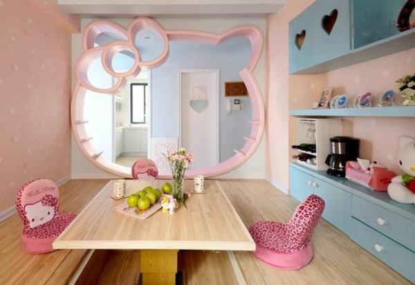 kinderzimmer design ideen tisch stühle spiegel
