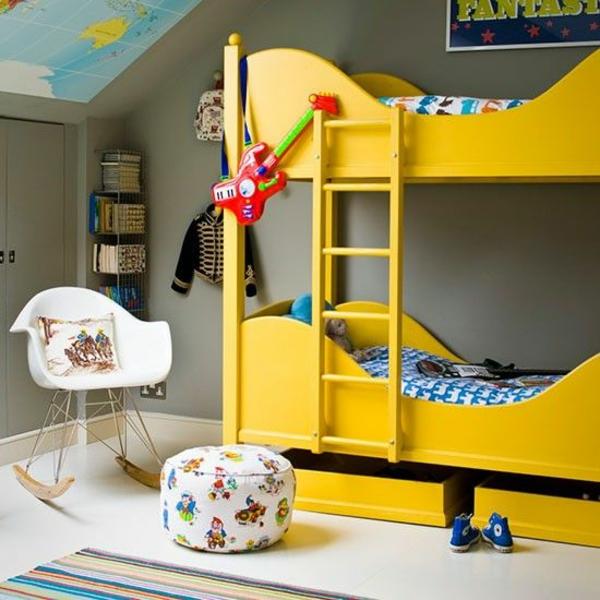kinderzimmer ideen im zeitgenössichem stil stockbett gelb