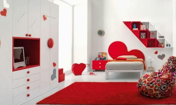 kinderzimmergestaltung ideen mit rot und weiß bett teppich schrank