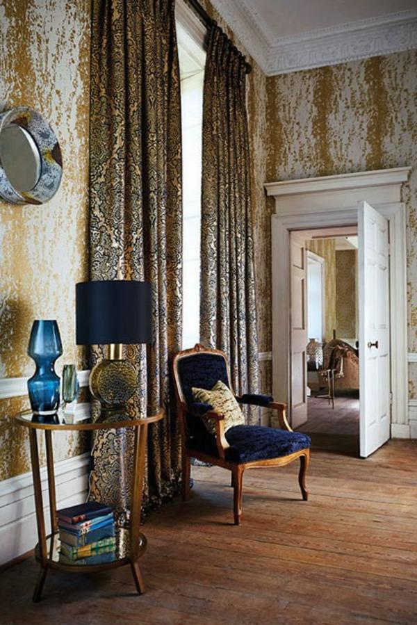 klassisch extravagant wohnideen deko tischlampe blau Wandgestaltung im Flur