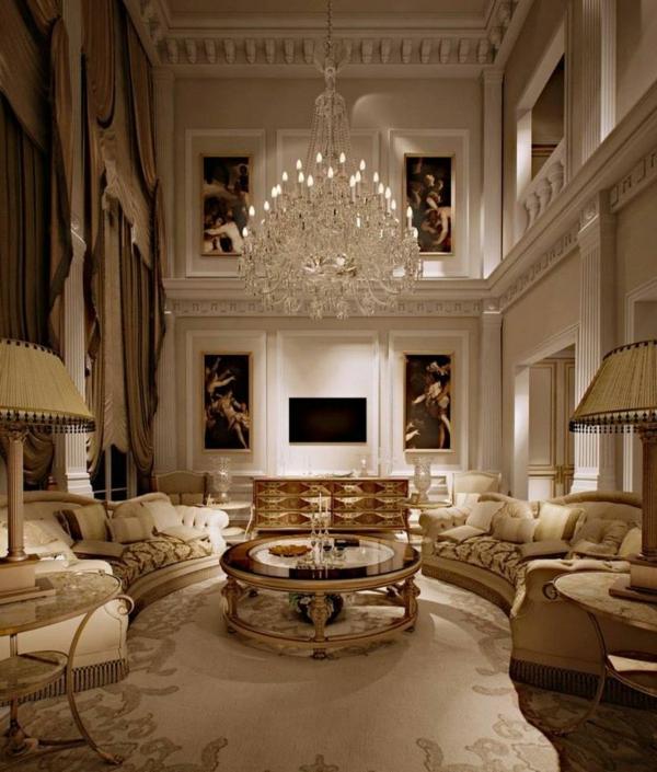 klassisches wohnzimmer rund  rundtisch wanddeko stehlampe