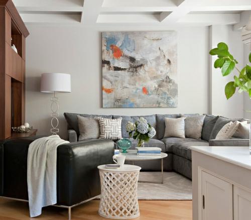 einrichtungsidee gemälde leder sofa klein raum wohnzimmer