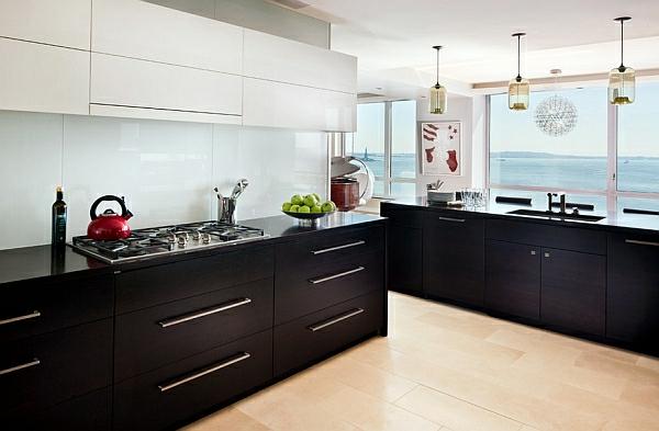 kombination schwarz weiß farben für küchenschränke
