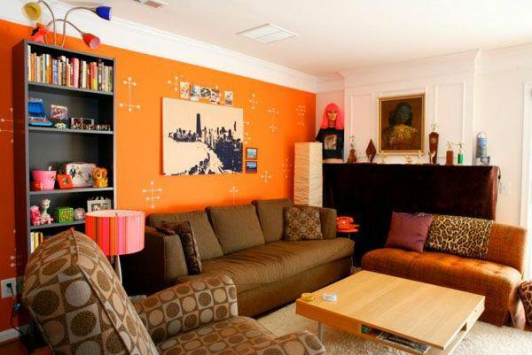 Schöne Wandfarben Wohnzimmer Orange Wände Heimtextilien Braun