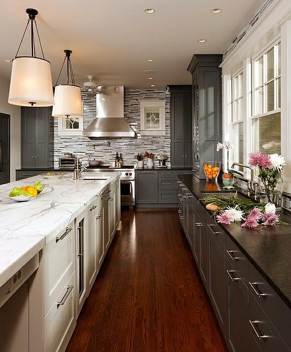 kontrast kücheneinrichtung und küchenmöbel arbeitsplatte