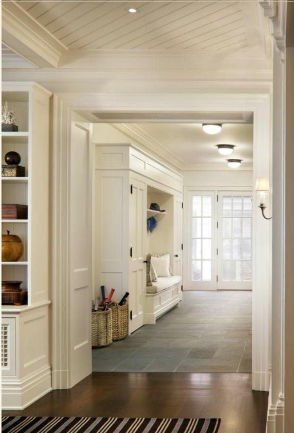 korridor interior ideen eingebaute bank dekokissen