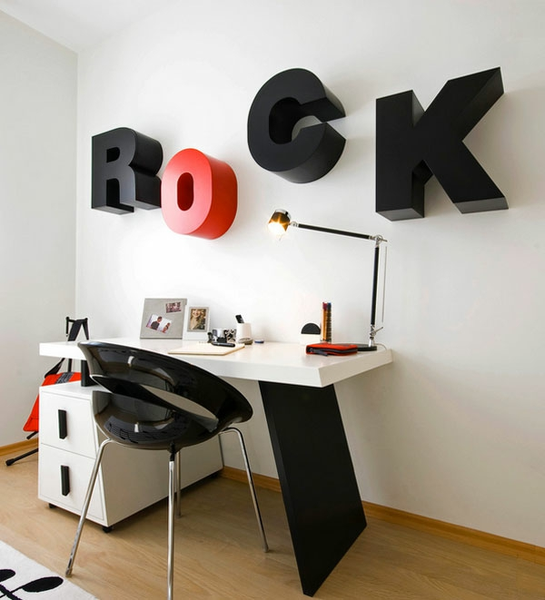 kreative wandgestaltung arbeitszimmer lernecke 3d buchstaben typografie