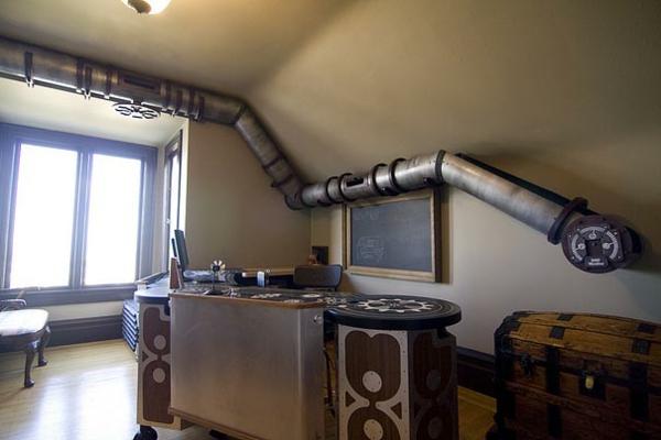 kreative wohnideen originell außergewöhnlich röhre arbeitsplatz
