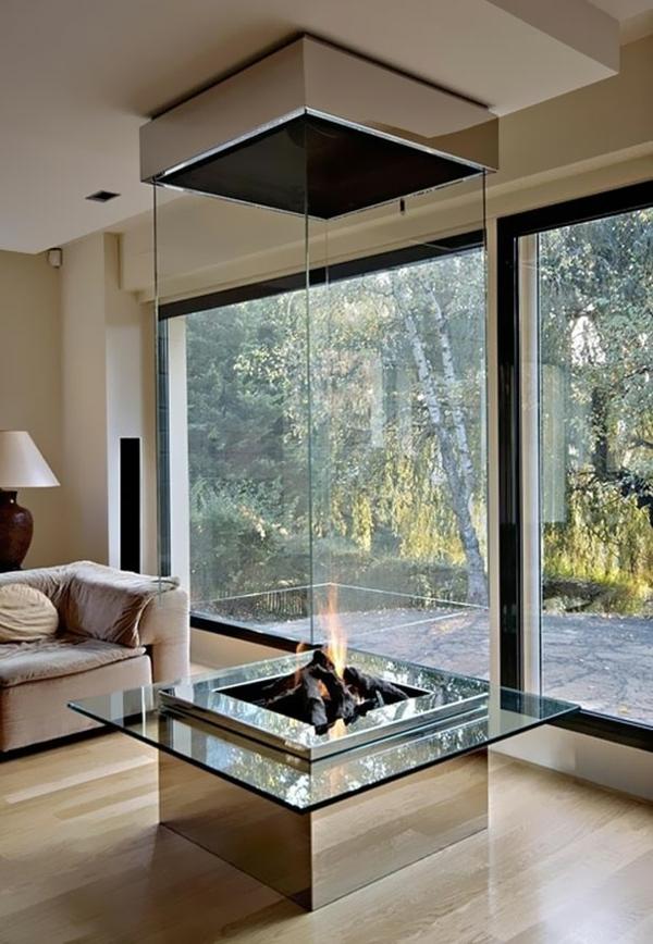AuBergewohnlich Kreative Wohnideen Wohnzimmer Feuerstelle Glas Glaswand
