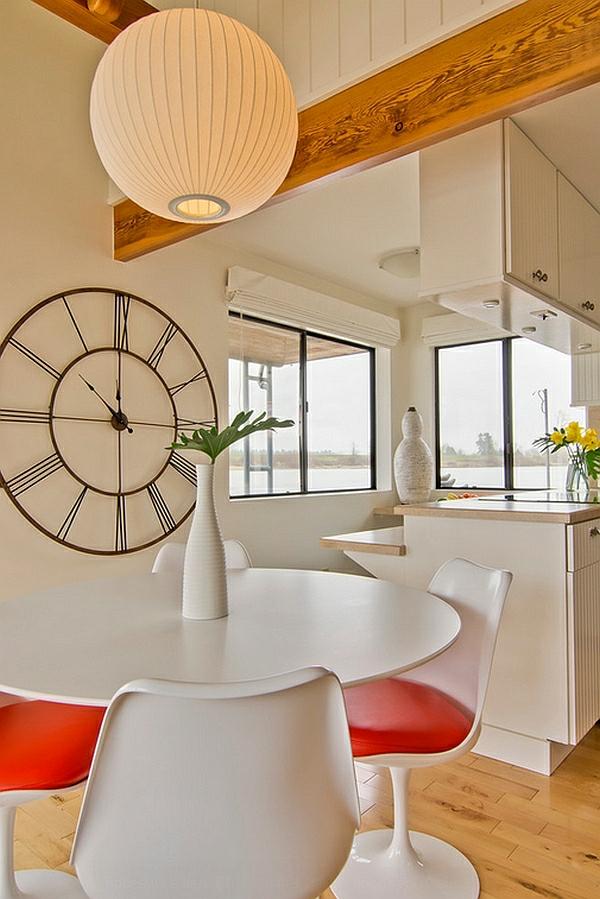 weiß stühle orange sitz leder kugel hängelampe esstisch