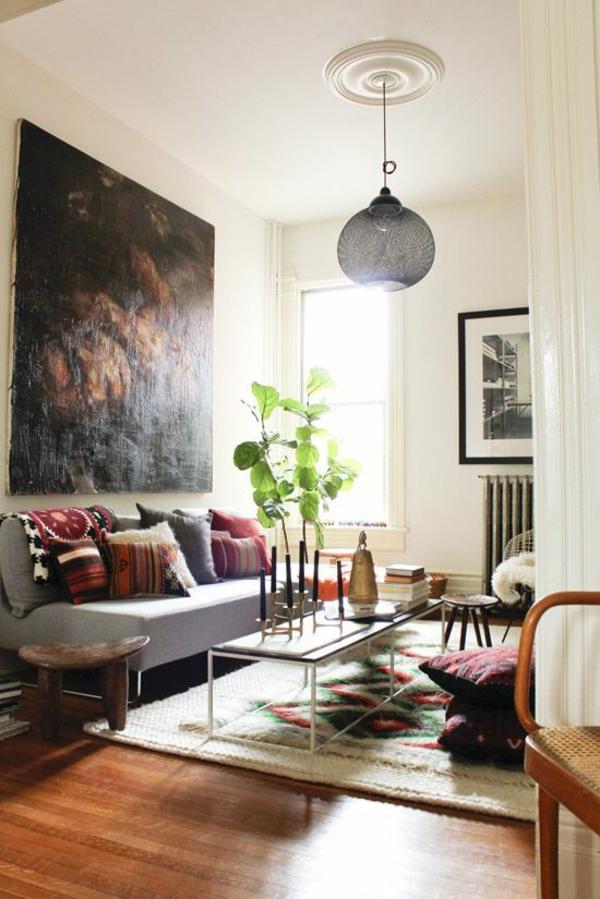 kunstvoll dramatisch wandfarben wohnzimmer dunkel - Wohnzimmer Design Wandfarbe