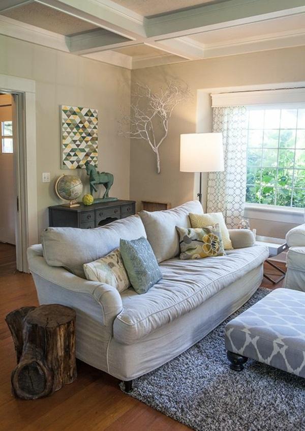 ländlich stil wohnzimmer sofa kissen zweige