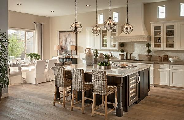 kücheninsel stühle landhausküche beige rattan