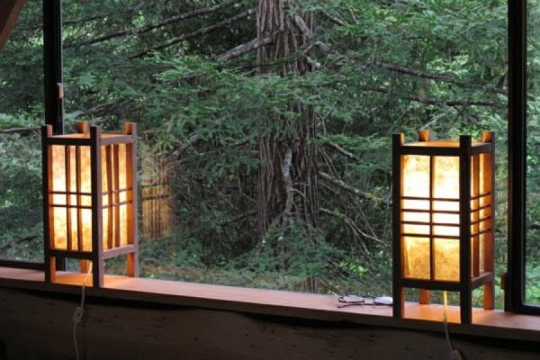 laternen japanisch stil eigenartig wald design fenster