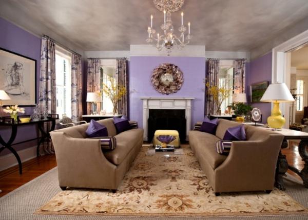 110 luxus wohnzimmer im einklang der mode Purple brown living room