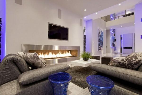 Lila Inspiration Im Wohnzimmer Hocker Sofa