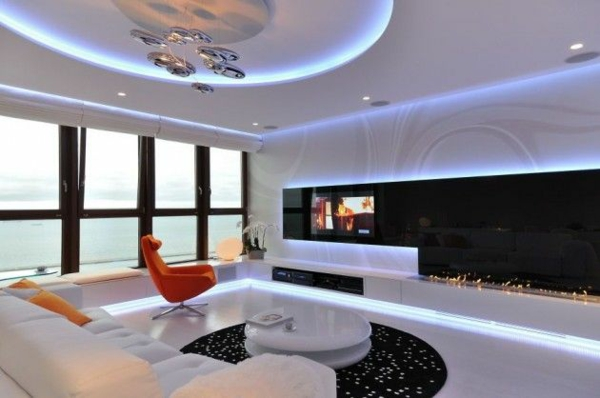 modern wohnzimmer design:Modern Apartment Interior Lighting