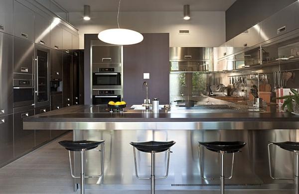 luxuriöse edelstahl küche bar barhocker pendelleuchte waschbecken